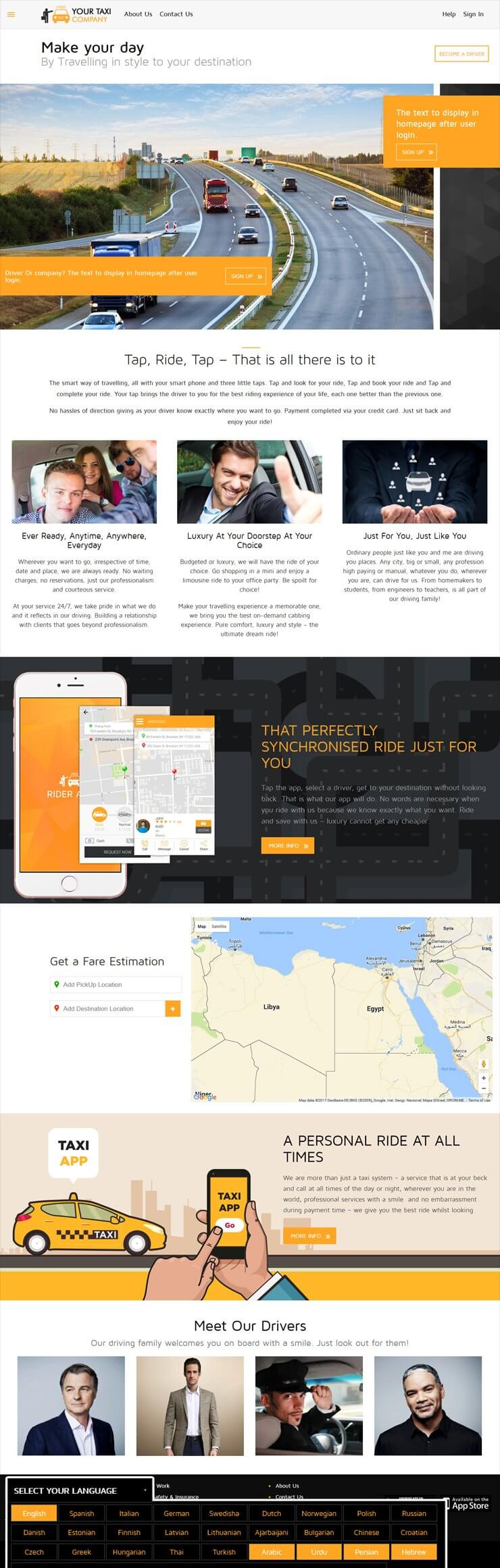 Uber clone web home page