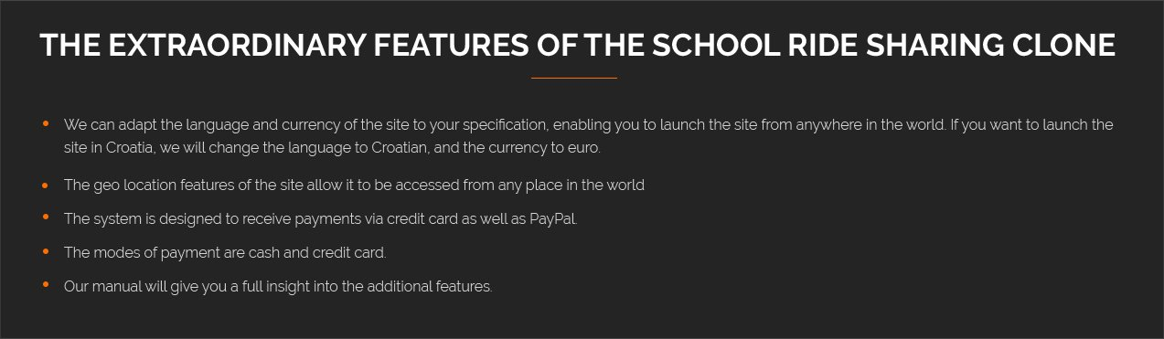 features of school ride sharing clone