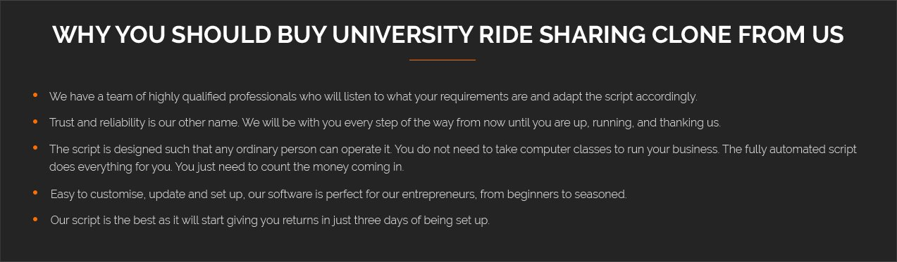 university ride sharing clone from us